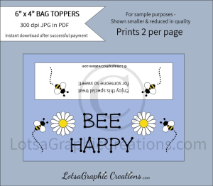 bee happy bag toppers
