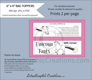 unicorn farts bag toppers