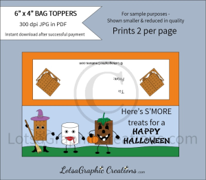 here's s'more treats for a happy halloween bag toppers