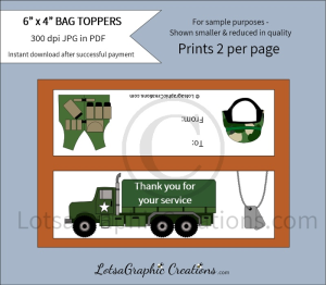 military thank you for your service bag toppers