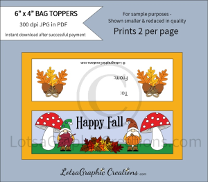 happy fall gnomes bag toppers
