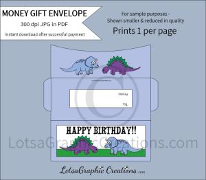 happy birthday dinosaurs money gift envelope