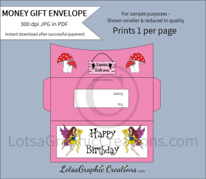 happy birthday fairies money gift envelope