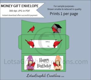 happy birthday gnomes & cardinals money gift envelope