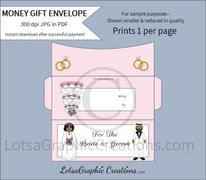 for the bride & groom african american money gift envelope