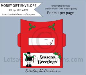 seasons greetings money gift envelope