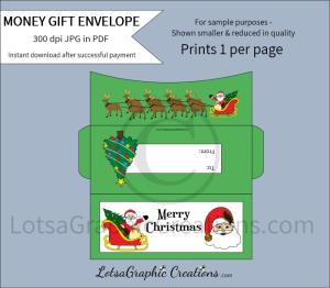 merry christmas santa money gift envelope