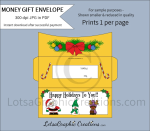 happy holidays to you money gift envelope