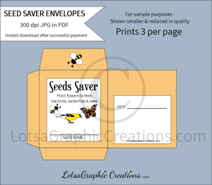 plant flowers to feed the bees, birds & butterflies seeds saver envelopes
