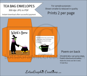 witch's brew tea bag envelopes