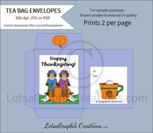 happy thanksgiving scarecrow friends tea bag envelopes