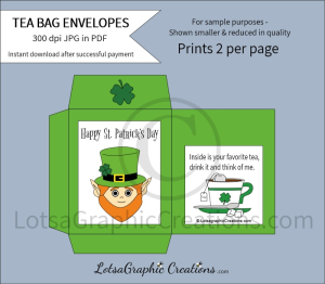 happy st. patrick's day tea bag envelopes