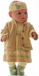 DollKnittingPatterns 0223D Ragna- Skjørt, kort-ermet genser, tights, jakke, hårbånd og sko-(Norsk)   Crafting   Knitting   Other