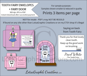 pearl white tooth fairy envelopes & fairy door