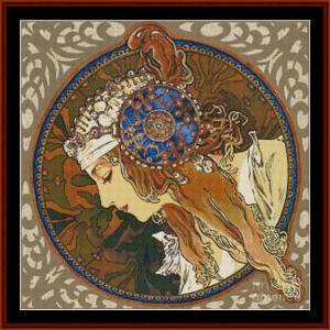 Byzantine, Detail - Mucha cross stitch pattern by Cross Stitch Collectibles   Crafting   Cross-Stitch   Other