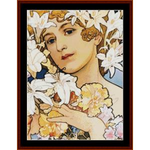 Flowers, Detail - Mucha cross stitch pattern by Cross Stitch Collectibles | Crafting | Cross-Stitch | Other
