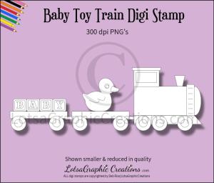 baby toy train digi stamp