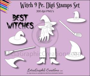 witch 9 pc. digi stamps set