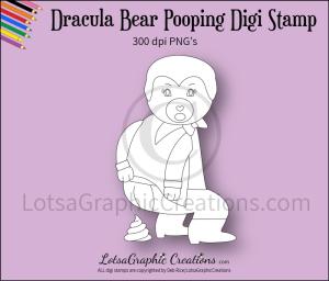 dracula bear pooping digi stamp