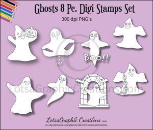ghosts 8 pc. digi stamps set