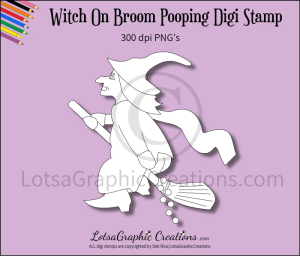 witch on broom pooping digi stamp