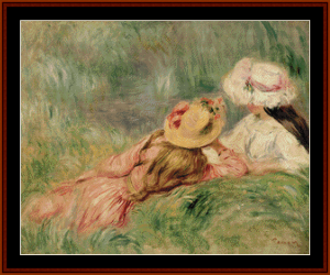 Girls on the Riverbank – Auguste Renoir cross stitch pattern by Kathleen George at Cross Stitch Collectibles | Crafting | Cross-Stitch | Other