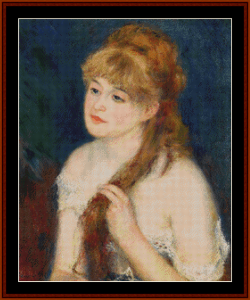 Woman Braiding Her Hair – Auguste Renoir cross stitch pattern by Kathleen George at Cross Stitch Collectibles | Crafting | Cross-Stitch | Other