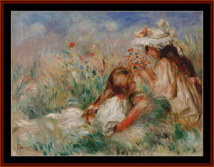 Girls in the Grass – Auguste Renoir cross stitch pattern by Kathleen George at Cross Stitch Collectibles | Crafting | Cross-Stitch | Other
