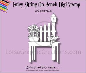 fairy sitting on bench digi stamp