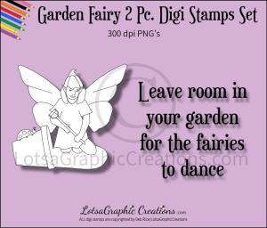 garden fairy 2 pc. digi stamps set