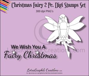 christmas fairy 2 pc. digi stamps set