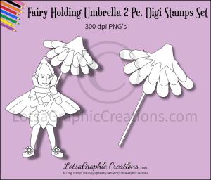 fairy holding umbrella 2 pc. digi stamps set