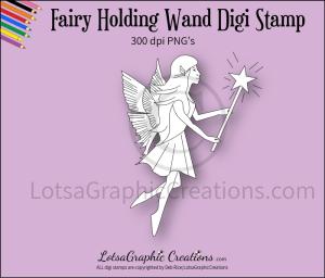 fairy holding wand digi stamp