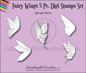 fairy wings 5 pc. digi stamps set