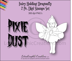 fairy holding dragonfly 2 pc. digi stamps set