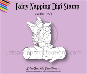 fairy napping digi stamp