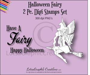 halloween fairy 2 pc. digi stamps set