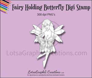 fairy holding butterfly digi stamp