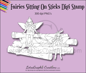 fairies sitting on sticks digi stamp