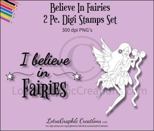 believe in fairies 2 pc. digi stamps set
