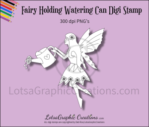 fairy holding watering can digi stamp