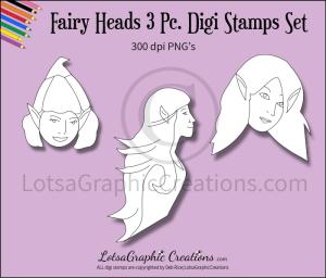 fairy heads 3 pc. digi stamps set