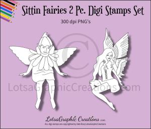 sitting fairies 2 pc. digi stamps set