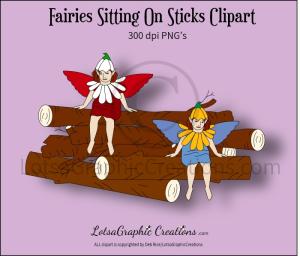 fairies sitting on sticks clipart