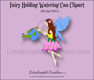fairy holding watering can clipart