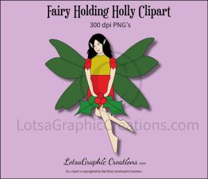 fairy holding holly clipart