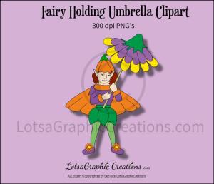 fairy holding umbrella clipart
