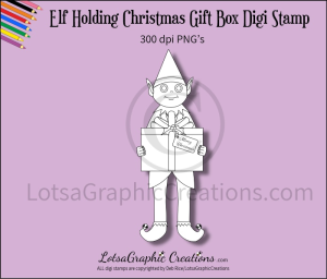 elf holding christmas gift box digi stamp