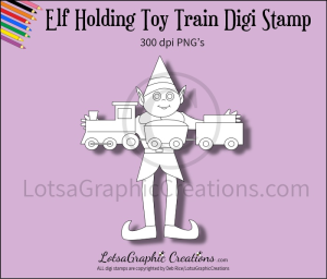 elf holding toy train digi stamp