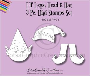 elf legs, head & hat 3 pc. digi stamps set